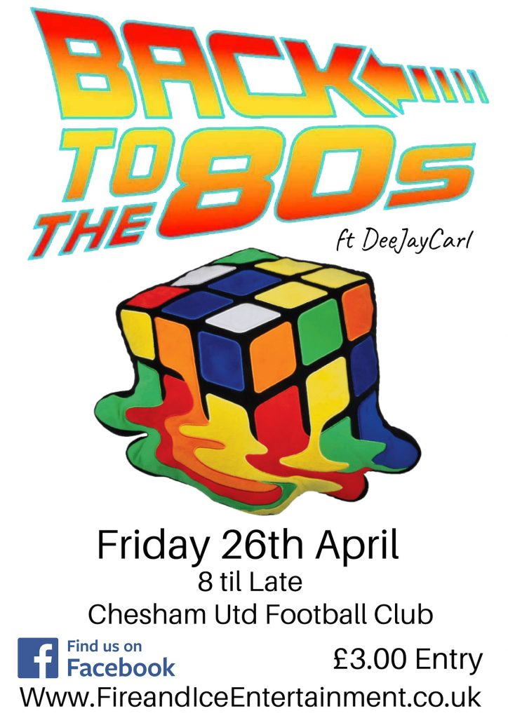 80s night at Chesham United FC - Saturday 26th April